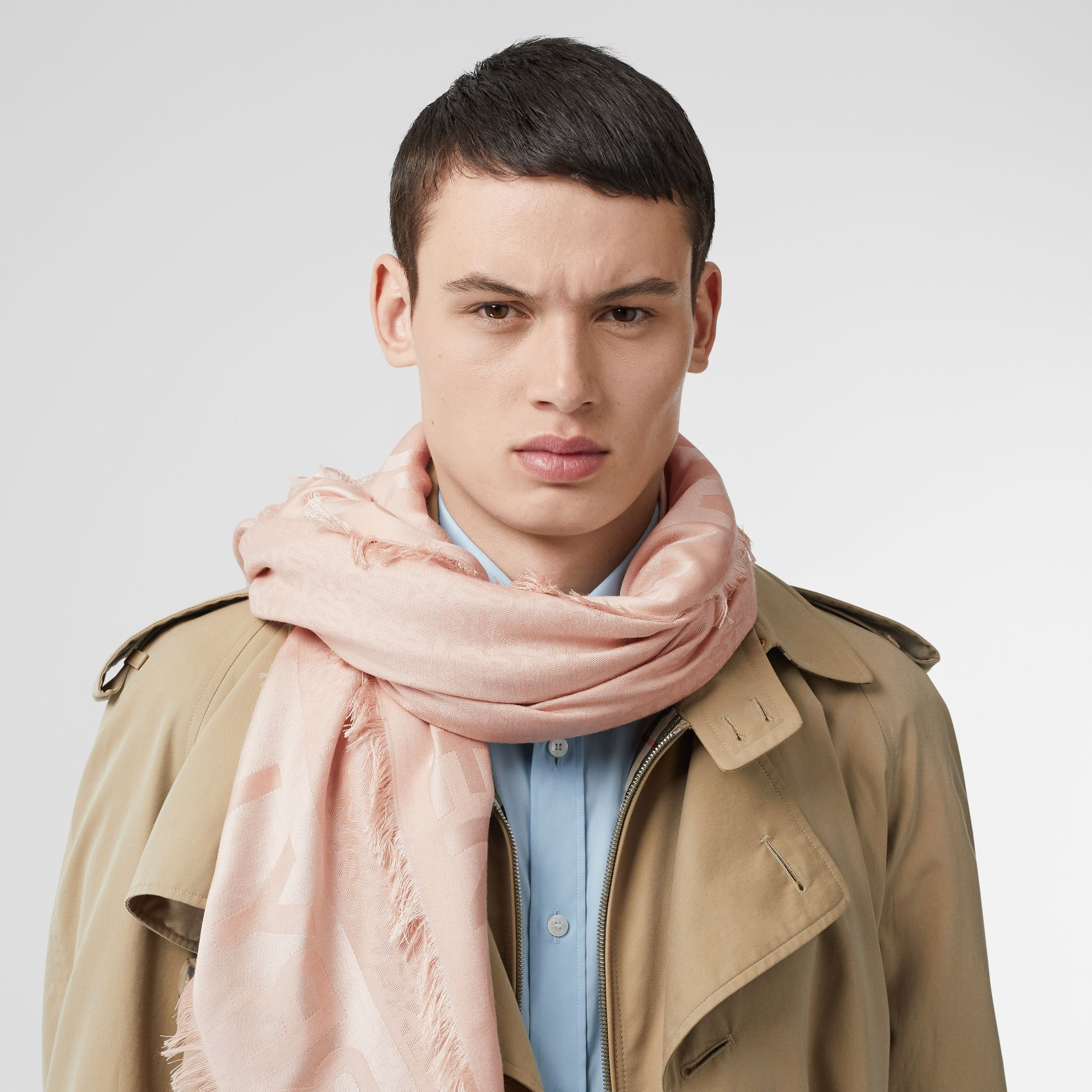 Monogram Silk Wool Jacquard Large Square Scarf in Rose Beige | Burberry - 4