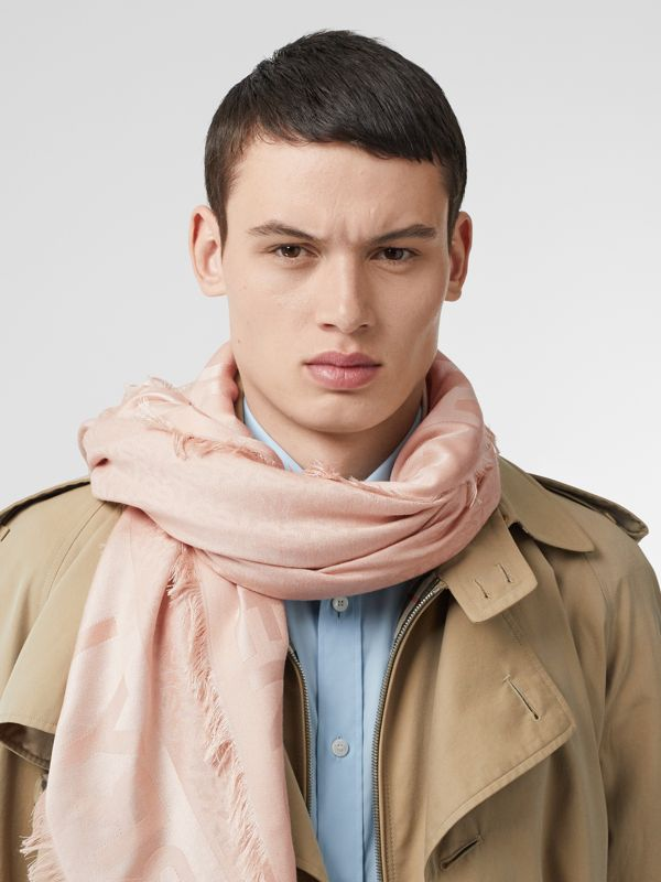Monogram Silk Wool Jacquard Large Square Scarf in Rose Beige | Burberry - cell image 2