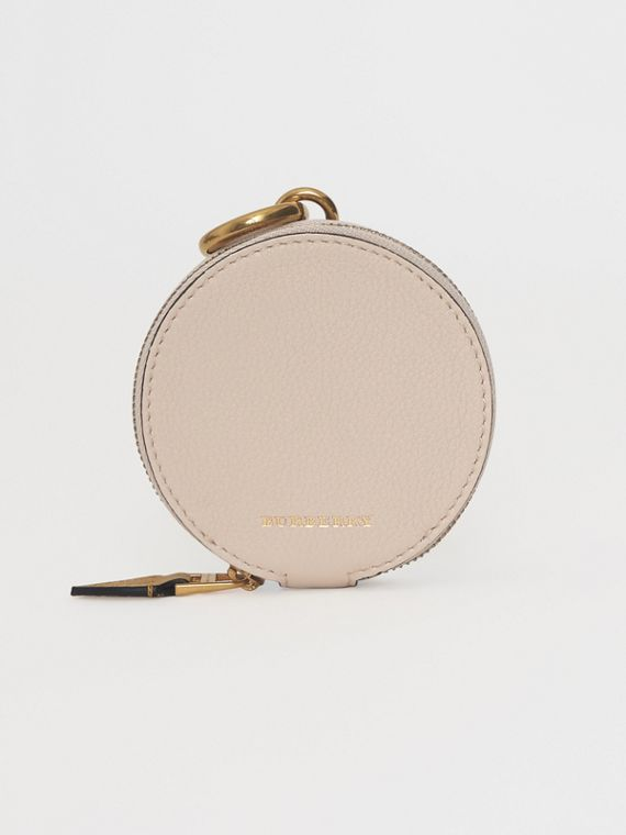 Small Round Leather Coin Case in Limestone/cornflower Yellow