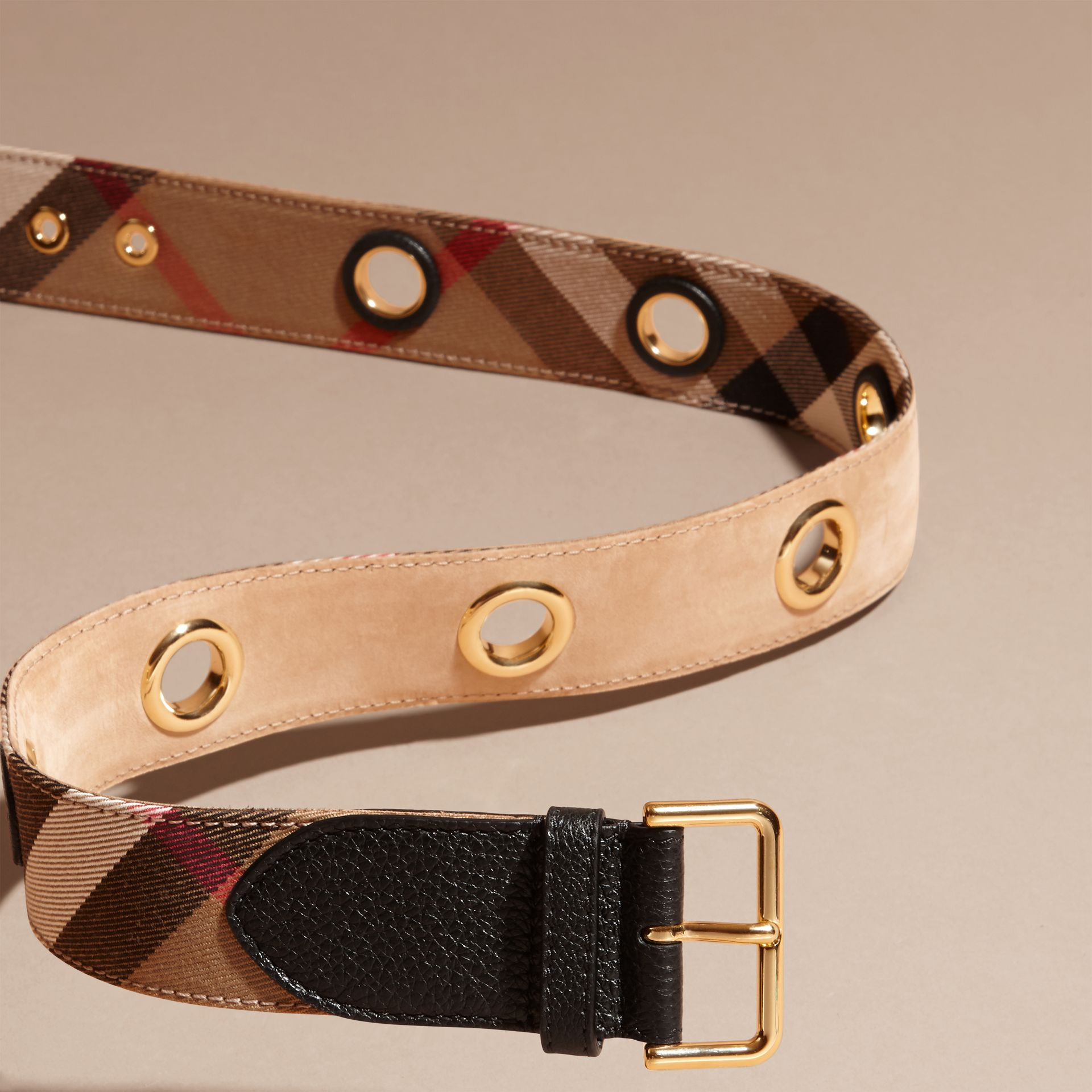 Eyelet Detail House Check Belt - Women | Burberry - gallery image 3
