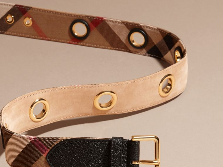 Eyelet Detail House Check Belt - Women | Burberry - cell image 2