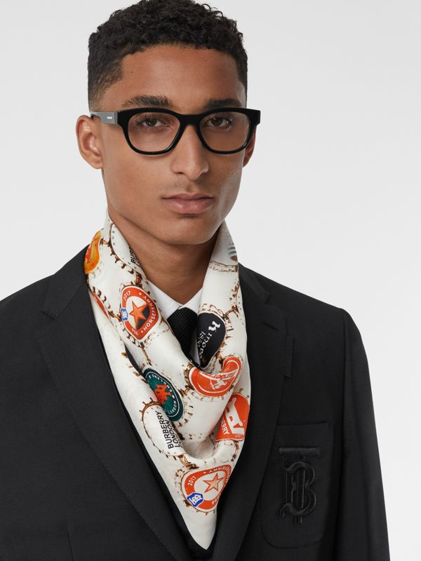 Bottle Cap Print Silk Square Scarf in Multicolour | Burberry - cell image 2