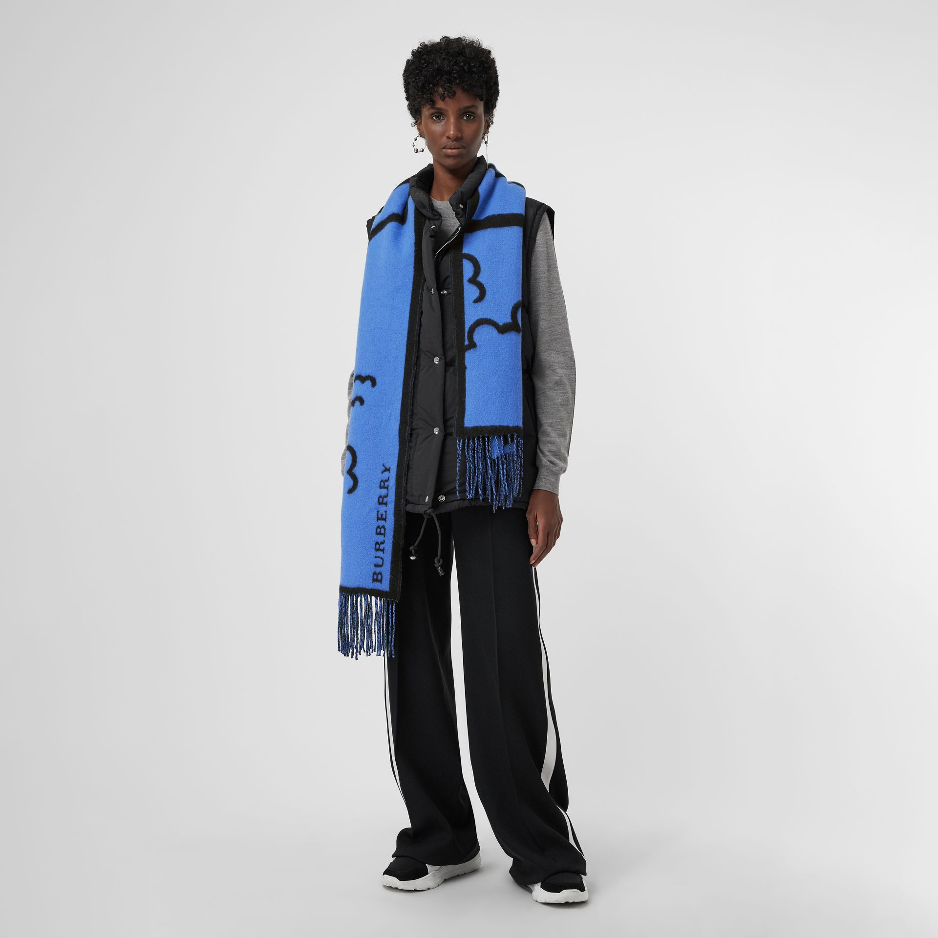 London Street Art Wool Cashmere Jacquard Scarf in Indigo Blue | Burberry Singapore - gallery image 2
