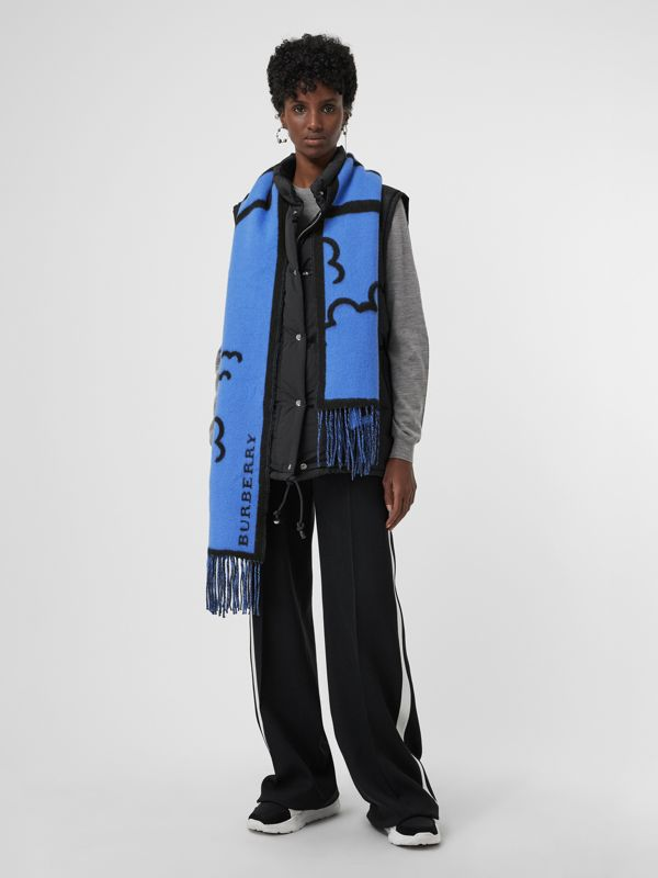 London Street Art Wool Cashmere Jacquard Scarf in Indigo Blue | Burberry - cell image 2