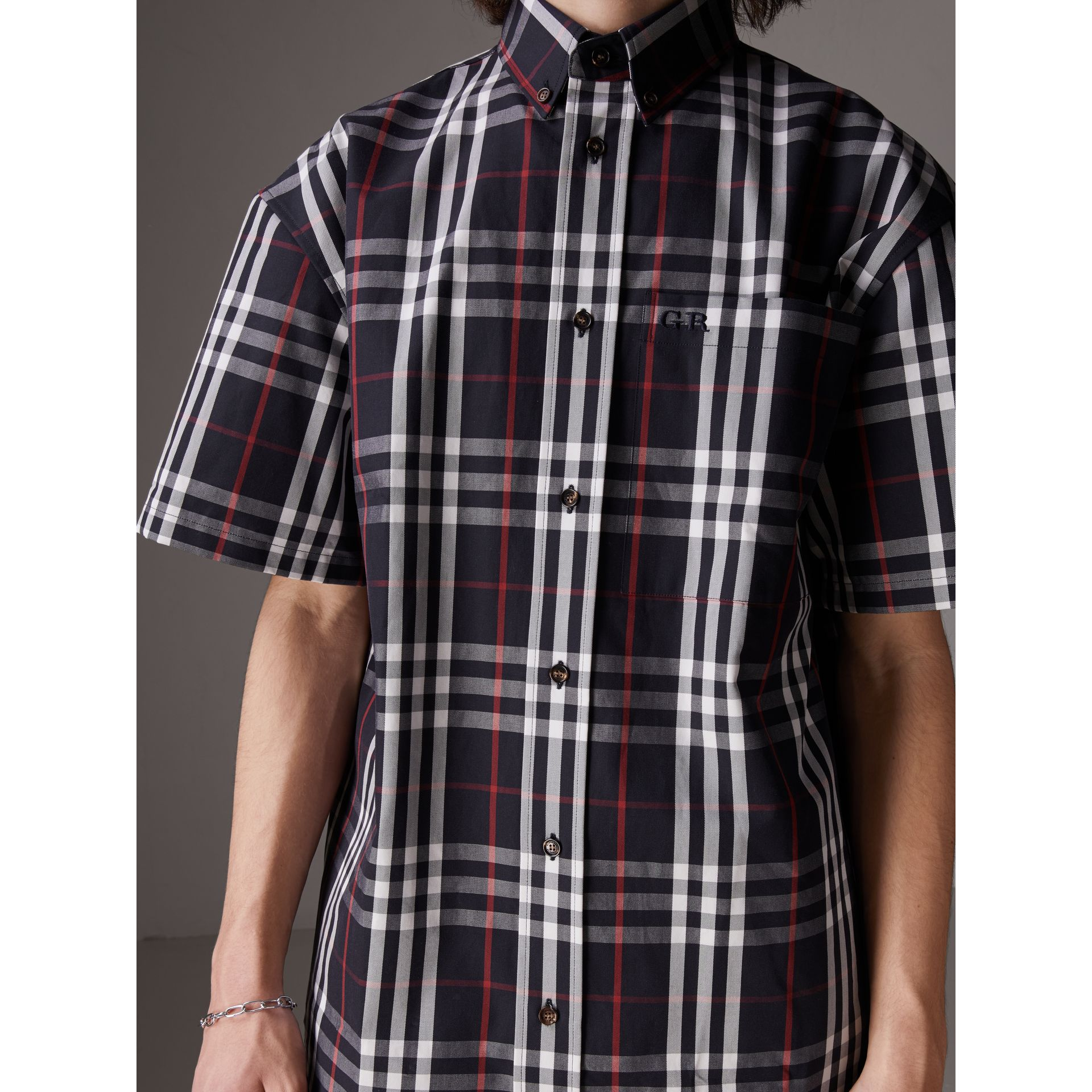 Gosha x Burberry Short-sleeve Check Shirt in Navy | Burberry Canada - gallery image 1
