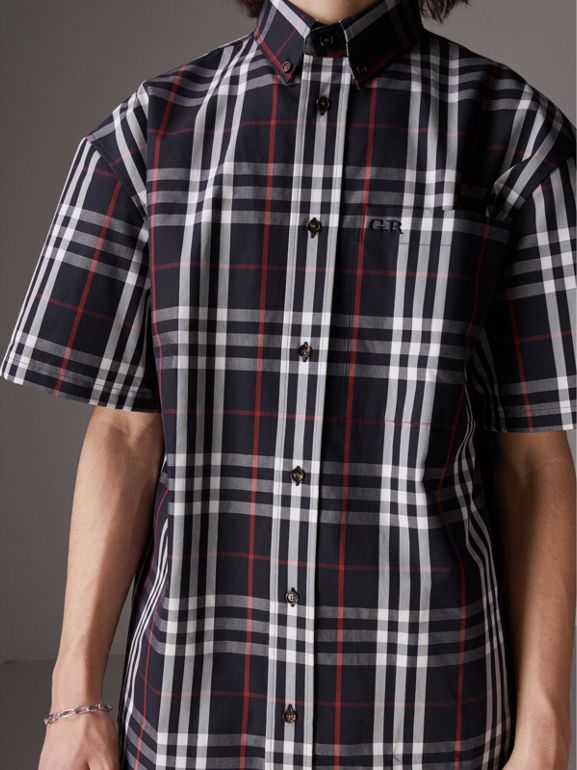Gosha x Burberry Short-sleeve Check Shirt in Navy - Men | Burberry United Kingdom - cell image 1