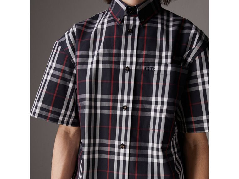 Gosha x Burberry Short-sleeve Check Shirt in Navy | Burberry United Kingdom - cell image 1