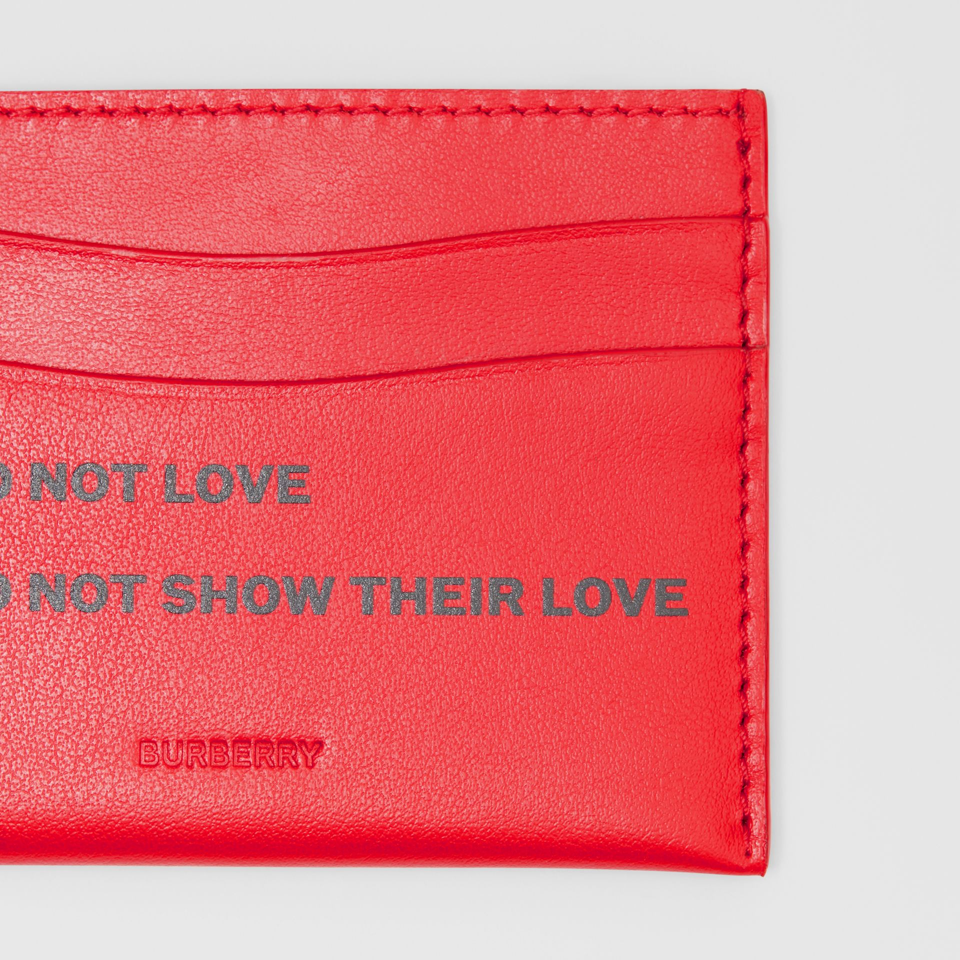 Quote Print Leather Card Case in Bright Military Red - Women | Burberry - gallery image 1