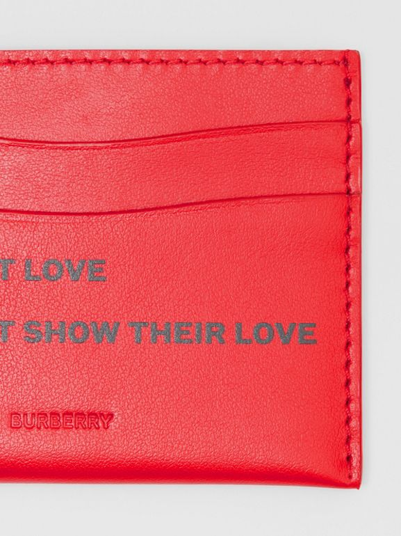 Quote Print Leather Card Case in Bright Military Red - Women | Burberry United Kingdom - cell image 1