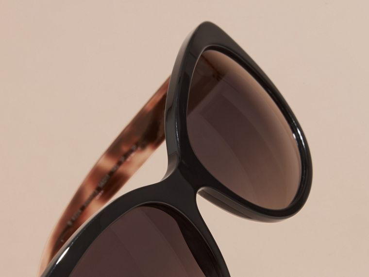 Check Detail Cat-eye Sunglasses in Black - Women | Burberry - cell image 1