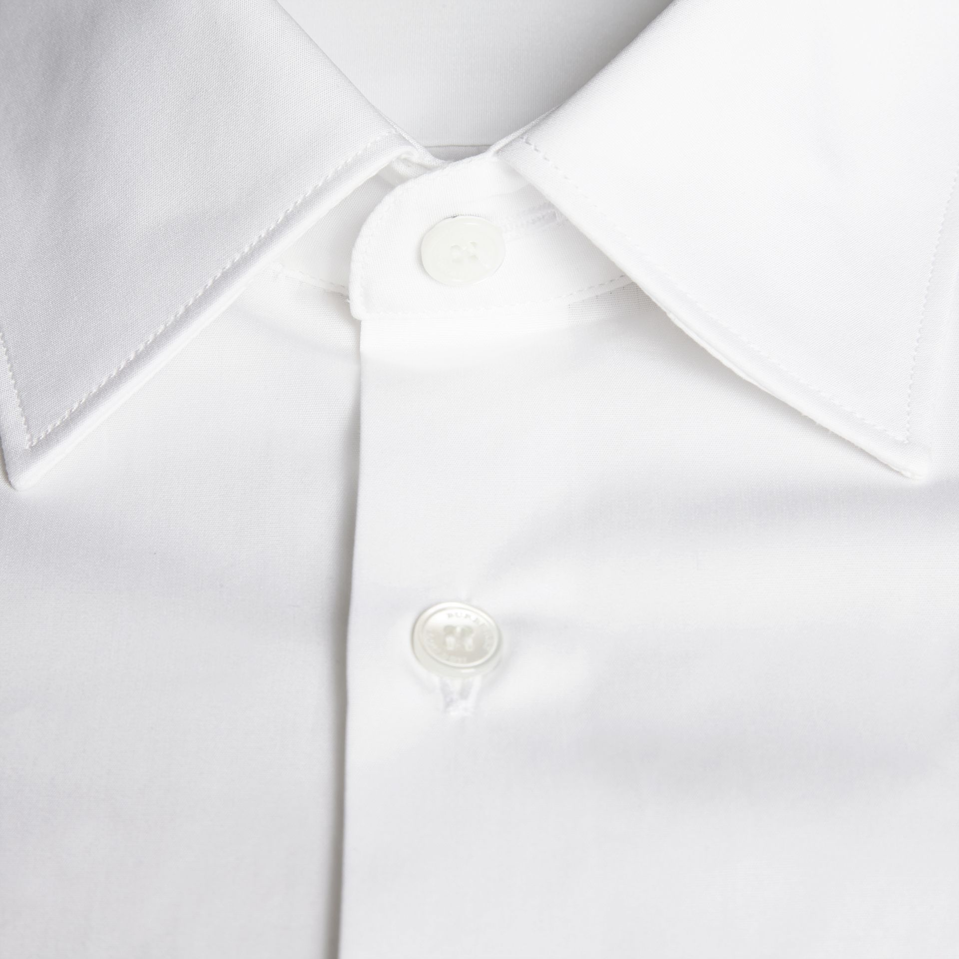 White Modern Fit Cotton Poplin Shirt - gallery image 2