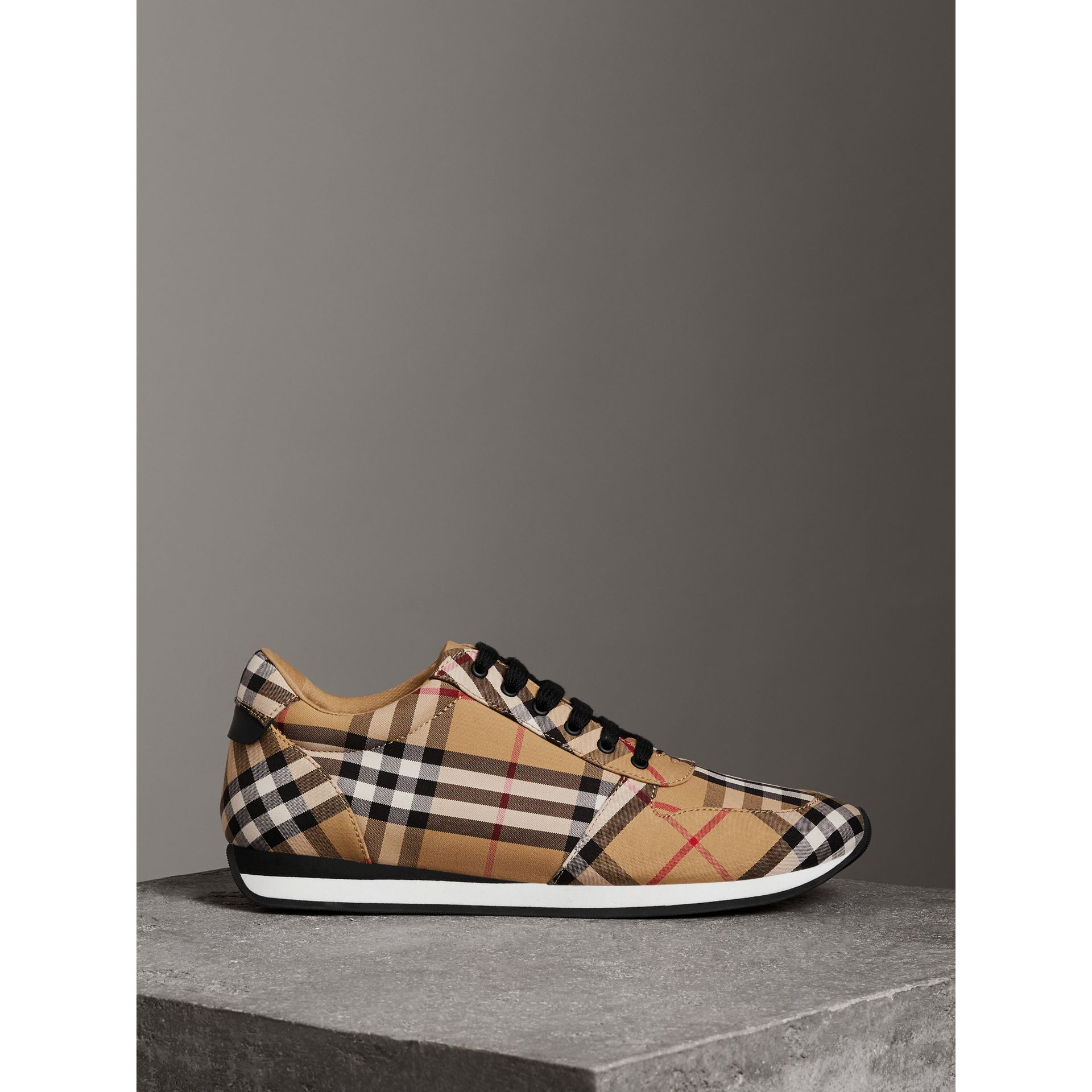 Vintage Check Cotton Sneakers in Antique Yellow - Women | Burberry United States - gallery image 4