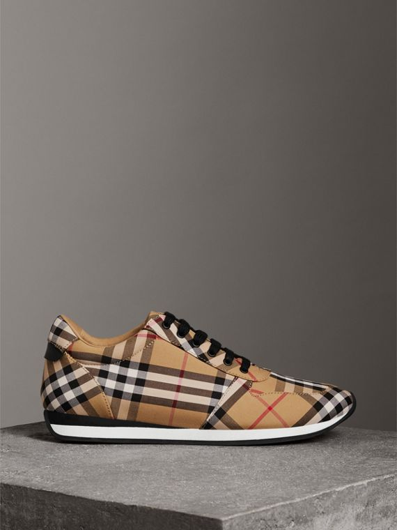 Vintage Check Cotton Sneakers in Antique Yellow