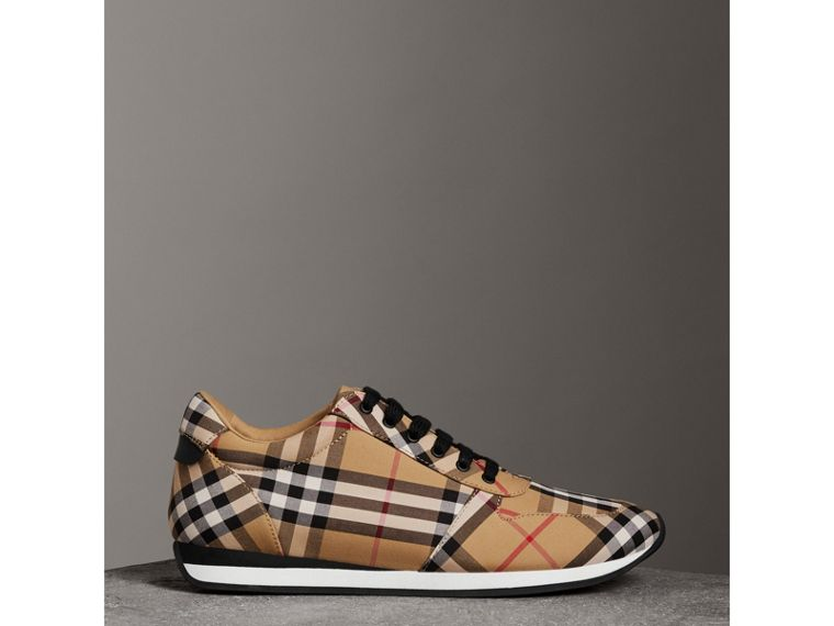 Vintage Check Cotton Sneakers in Antique Yellow - Women | Burberry Hong Kong - cell image 4