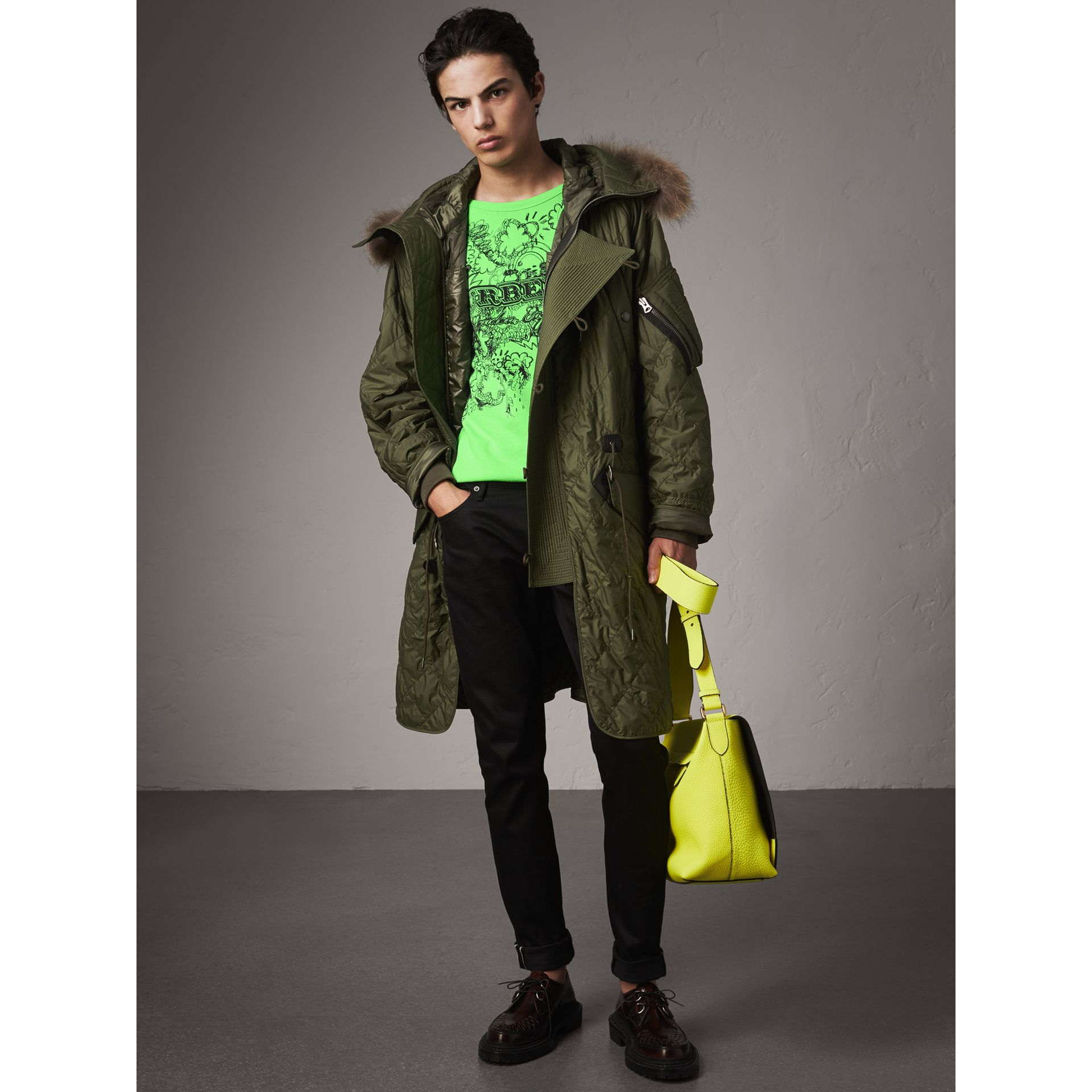 Detachable Fur Trim Hooded Diamond Quilted Parka in Olive - Men | Burberry - gallery image 0