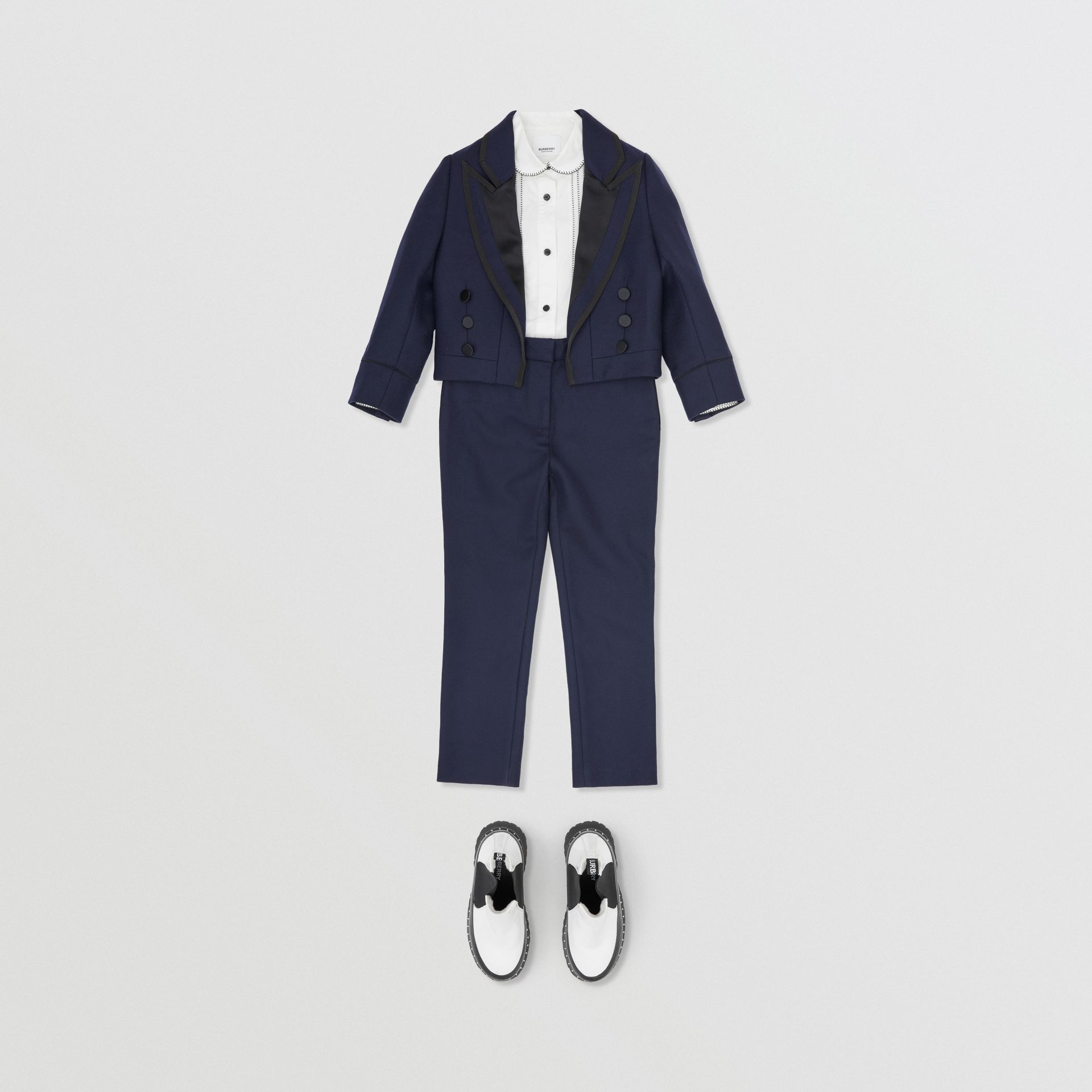 Stripe Detail Wool Twill Tailored Trousers in Navy - Girl | Burberry United States - gallery image 2