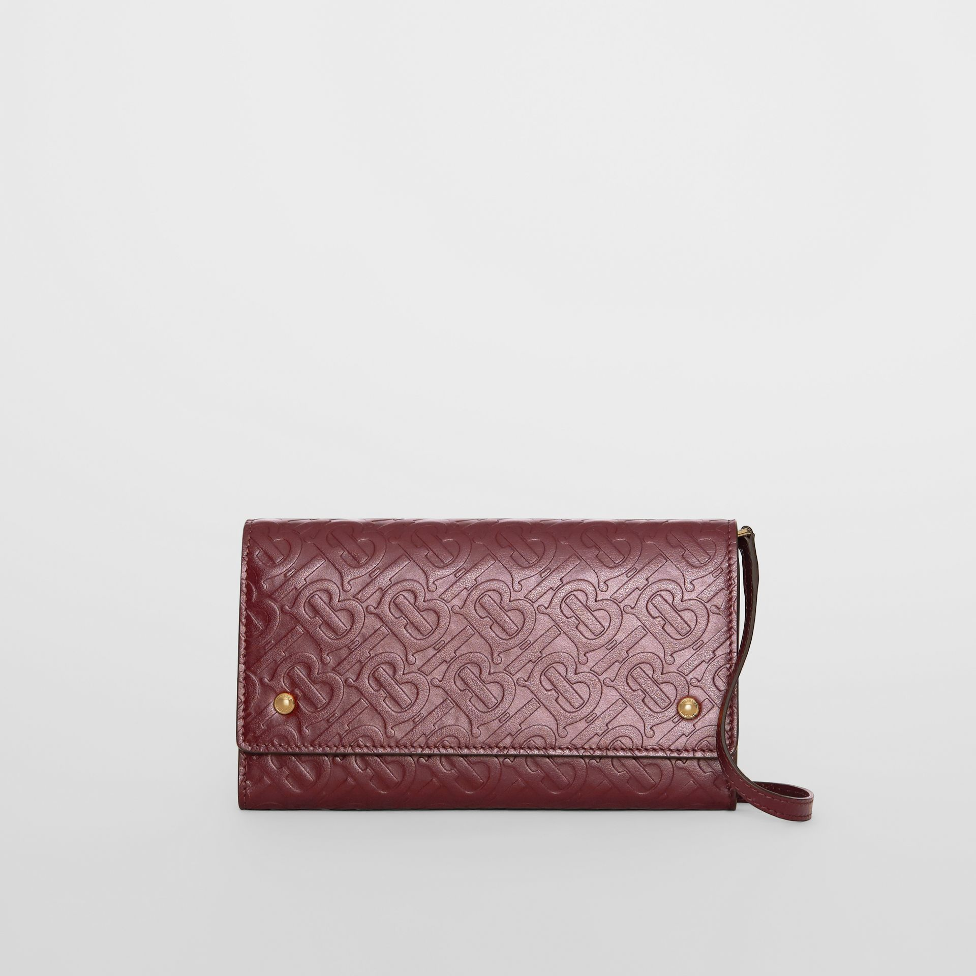 Monogram Leather Wallet with Detachable Strap in Oxblood - Women | Burberry - gallery image 0