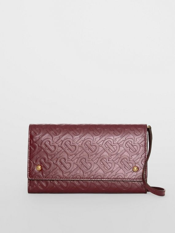 Monogram Leather Wallet with Detachable Strap in Oxblood