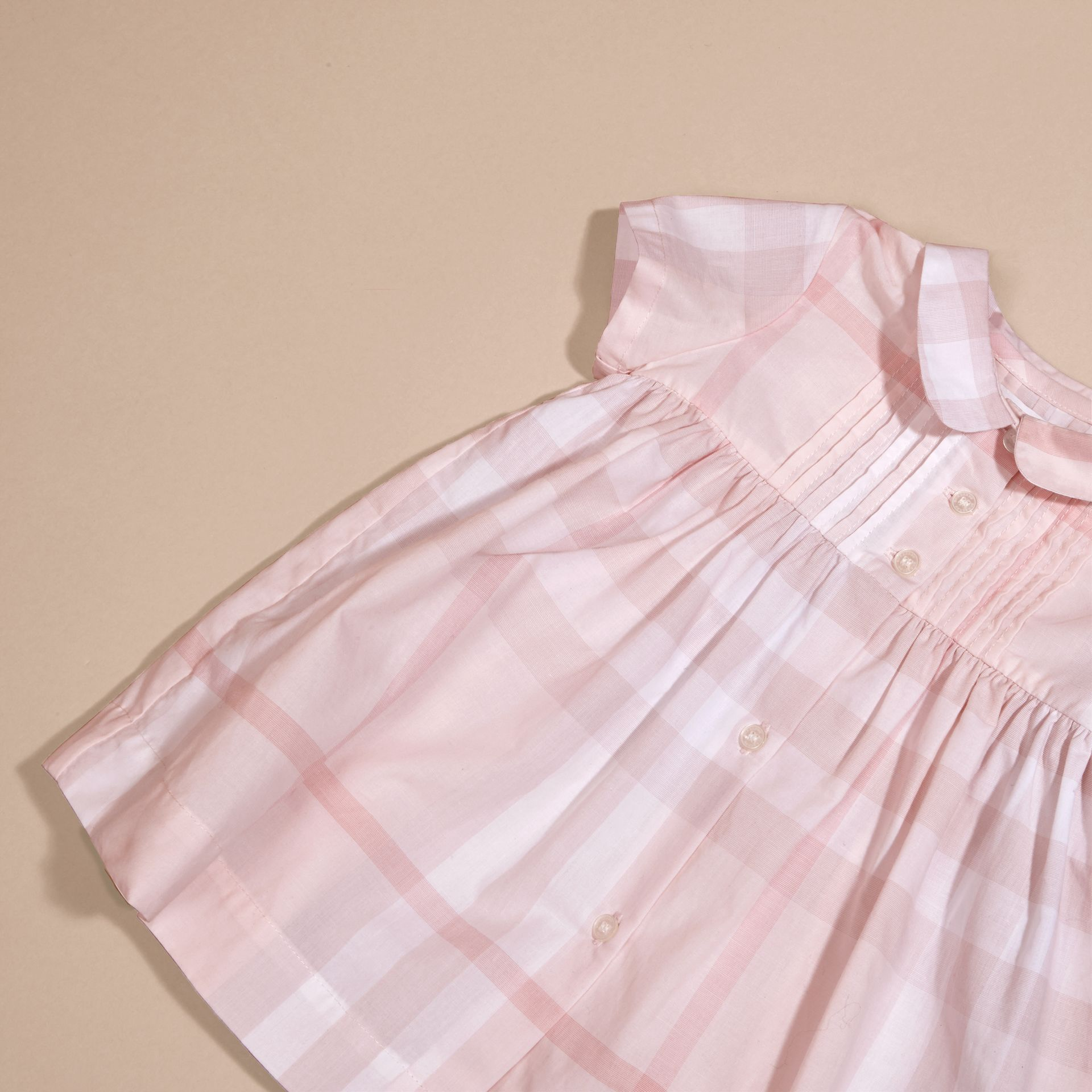 Ice pink Check Cotton Pin Pleat Dress and Bloomers - gallery image 2