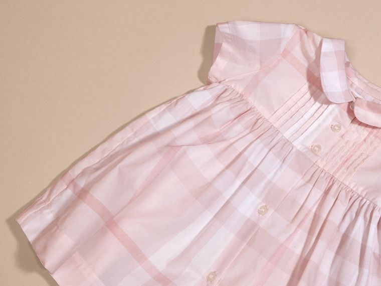 Ice pink Check Cotton Pin Pleat Dress and Bloomers - cell image 1