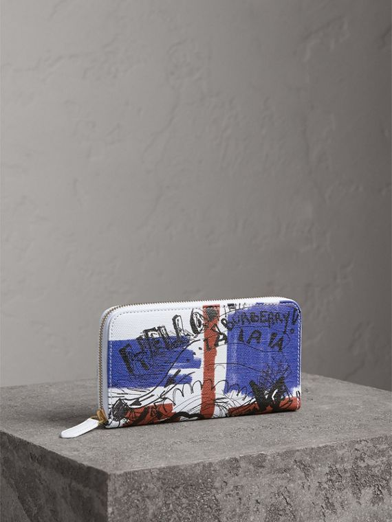 Doodle Print Coated Canvas Ziparound Wallet in Red/blue