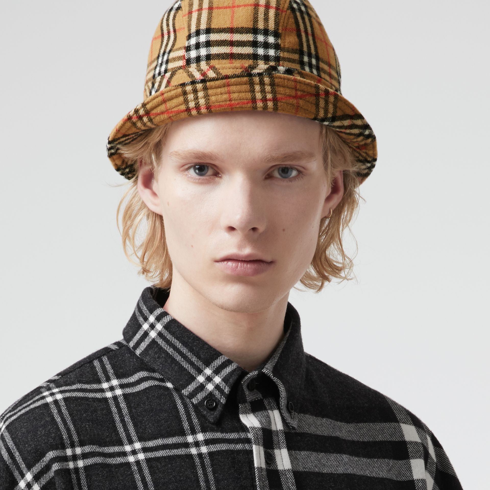Gosha x Burberry Check Flannel Bucket Hat in Antique Yellow | Burberry United Kingdom - gallery image 3