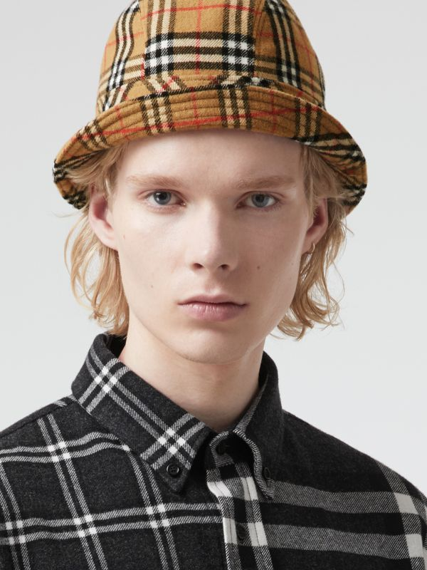 Gosha x Burberry Check Flannel Bucket Hat in Antique Yellow | Burberry United Kingdom - cell image 3