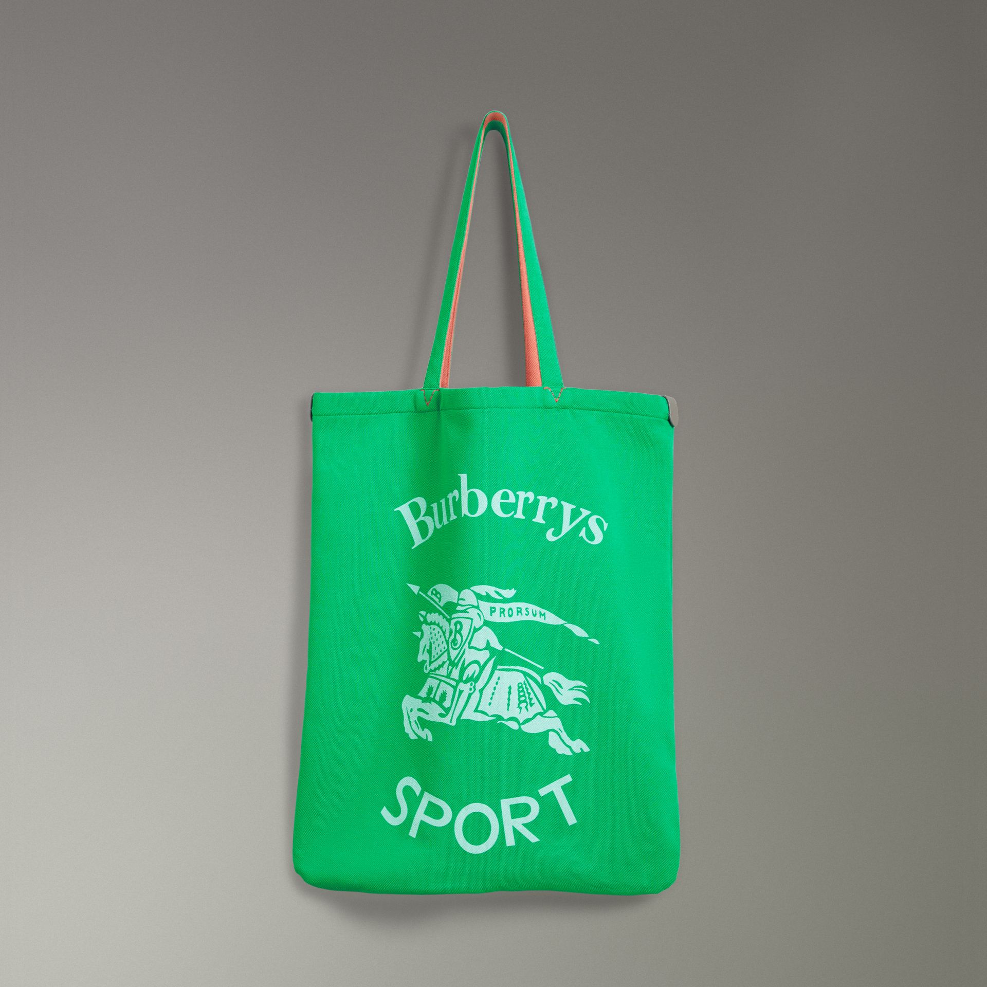 Large Archive Logo Jersey Shopper in Bright Green | Burberry - gallery image 0