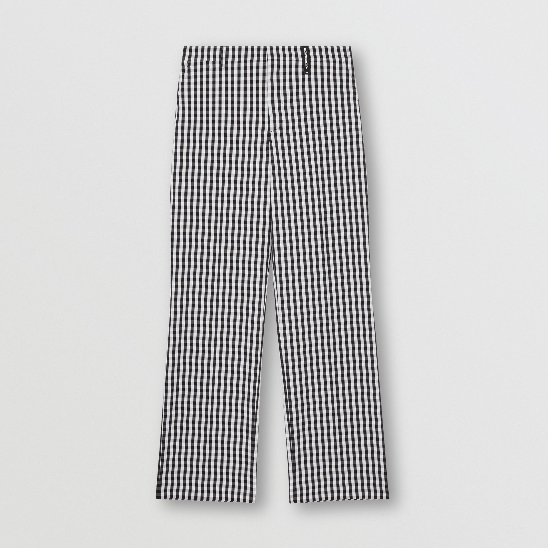 Gingham Technical Wool Wide-leg Tailored Trousers in Black | Burberry Australia - gallery image 3
