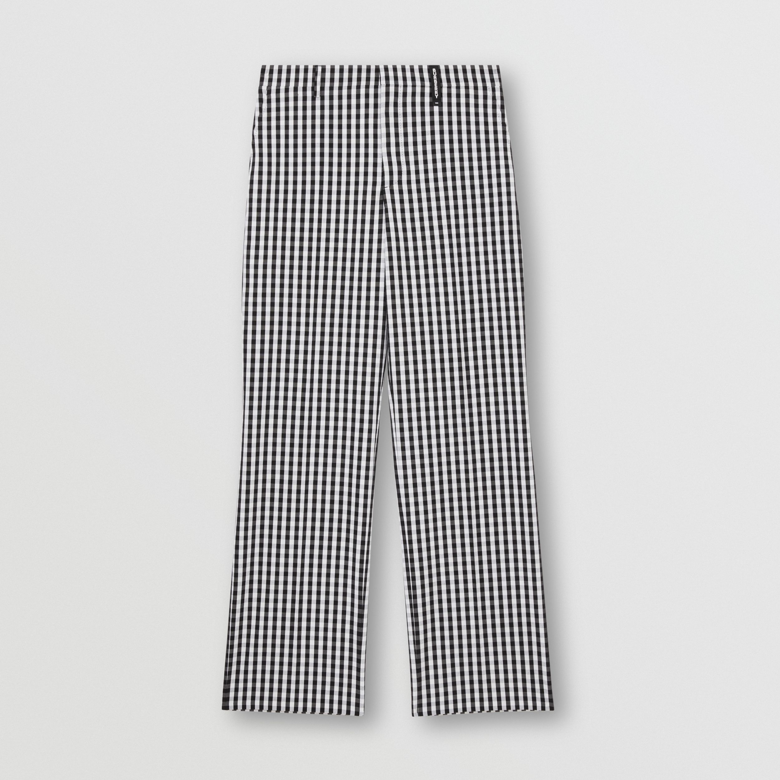 Gingham Technical Wool Wide-leg Tailored Trousers in Black - Men | Burberry Singapore - 4