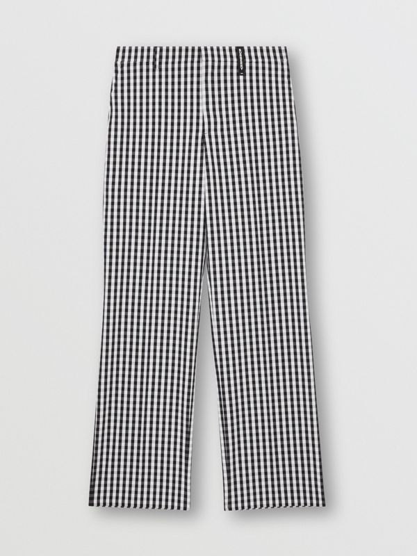 Gingham Technical Wool Wide-leg Tailored Trousers in Black | Burberry Australia - cell image 3