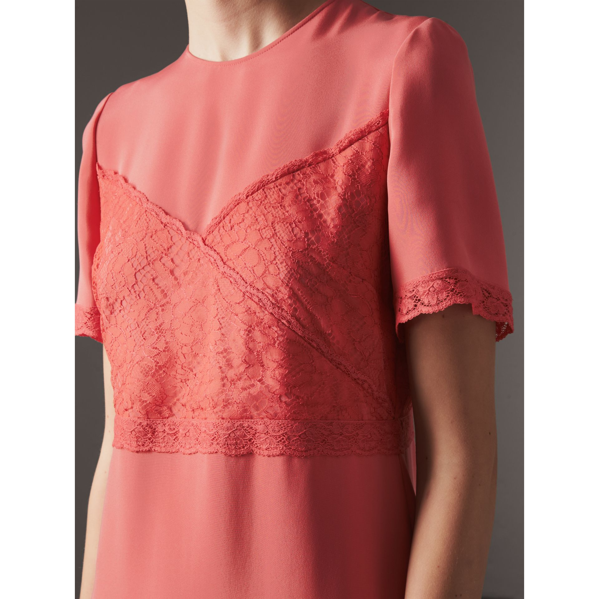 Chantilly Lace Detail Silk Crepe Marocain Dress in Coral Red - Women | Burberry United States - gallery image 1