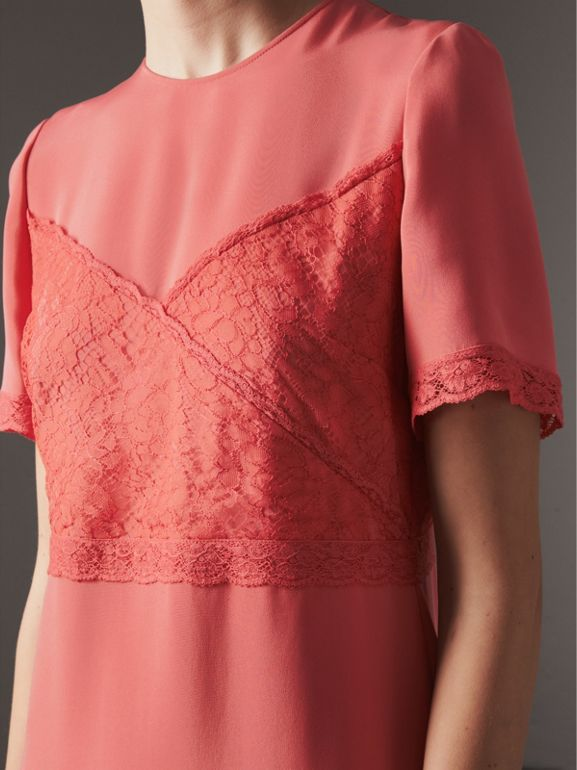 Chantilly Lace Detail Silk Crepe Marocain Dress in Coral Red - Women | Burberry - cell image 1