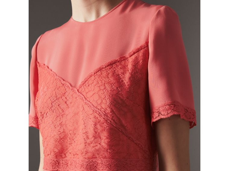 Chantilly Lace Detail Silk Crepe Marocain Dress in Coral Red - Women | Burberry United States - cell image 1