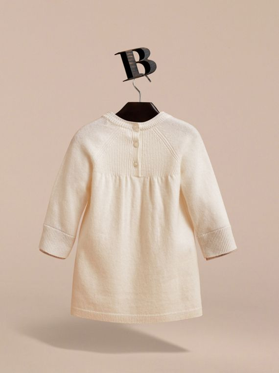 Check Cuff Knitted Cashmere Dress in Natural White | Burberry Singapore - cell image 3