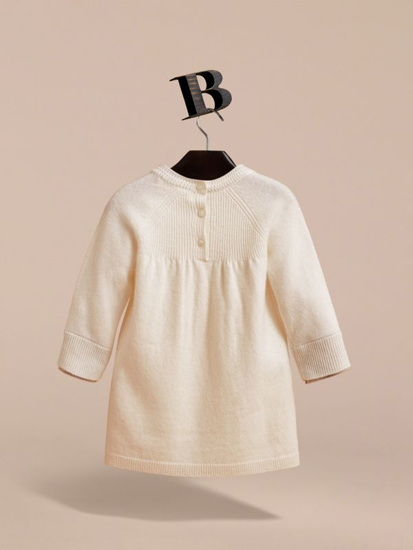 Check Cuff Knitted Cashmere Dress in Natural White | Burberry - cell image 3