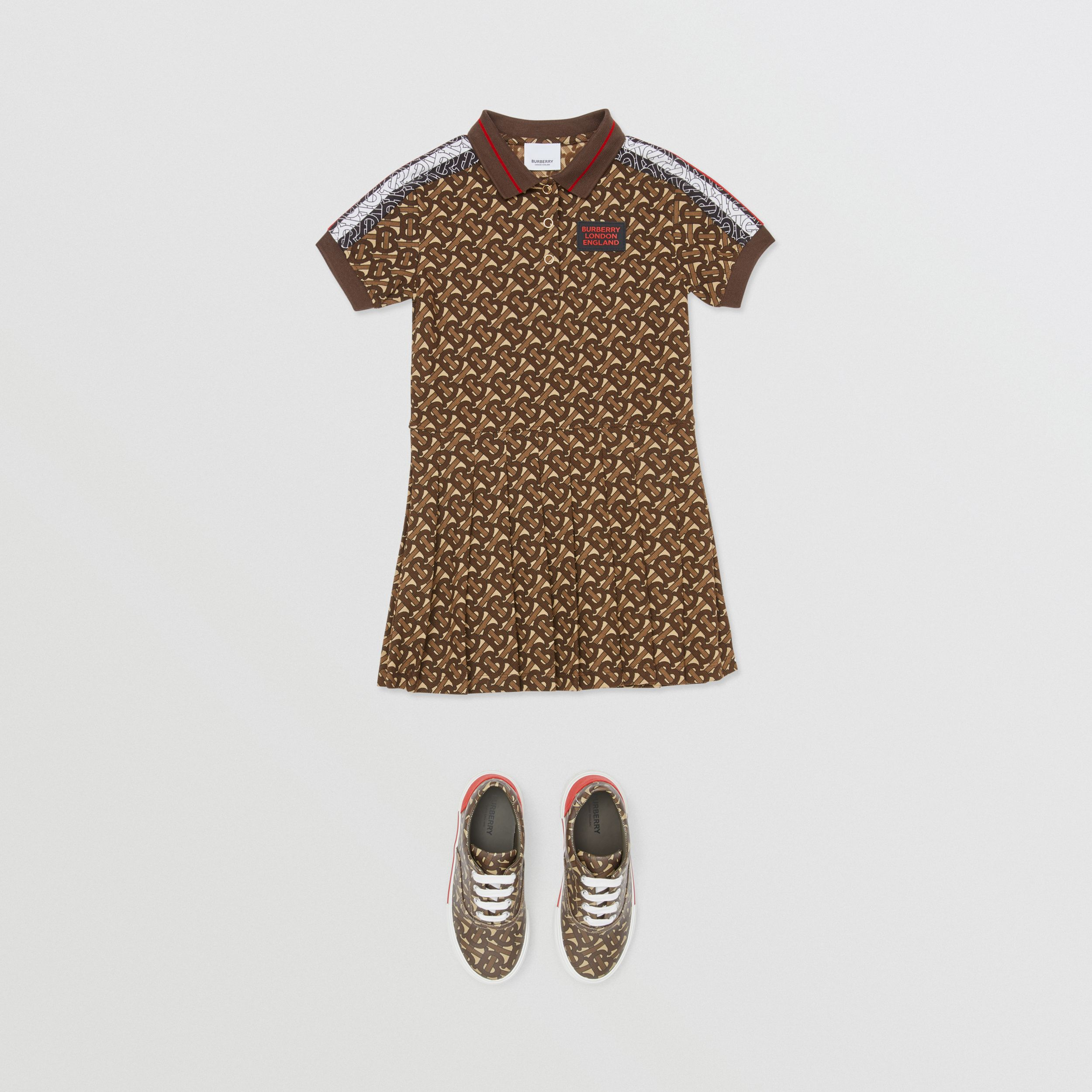 Monogram Stripe Print Cotton Polo Shirt Dress in Bridle Brown | Burberry - 3