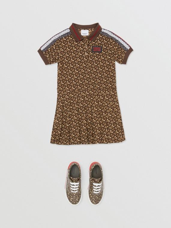 모노그램 스트라이프 프린트 코튼 폴로셔츠 드레스 (브라이들 브라운)