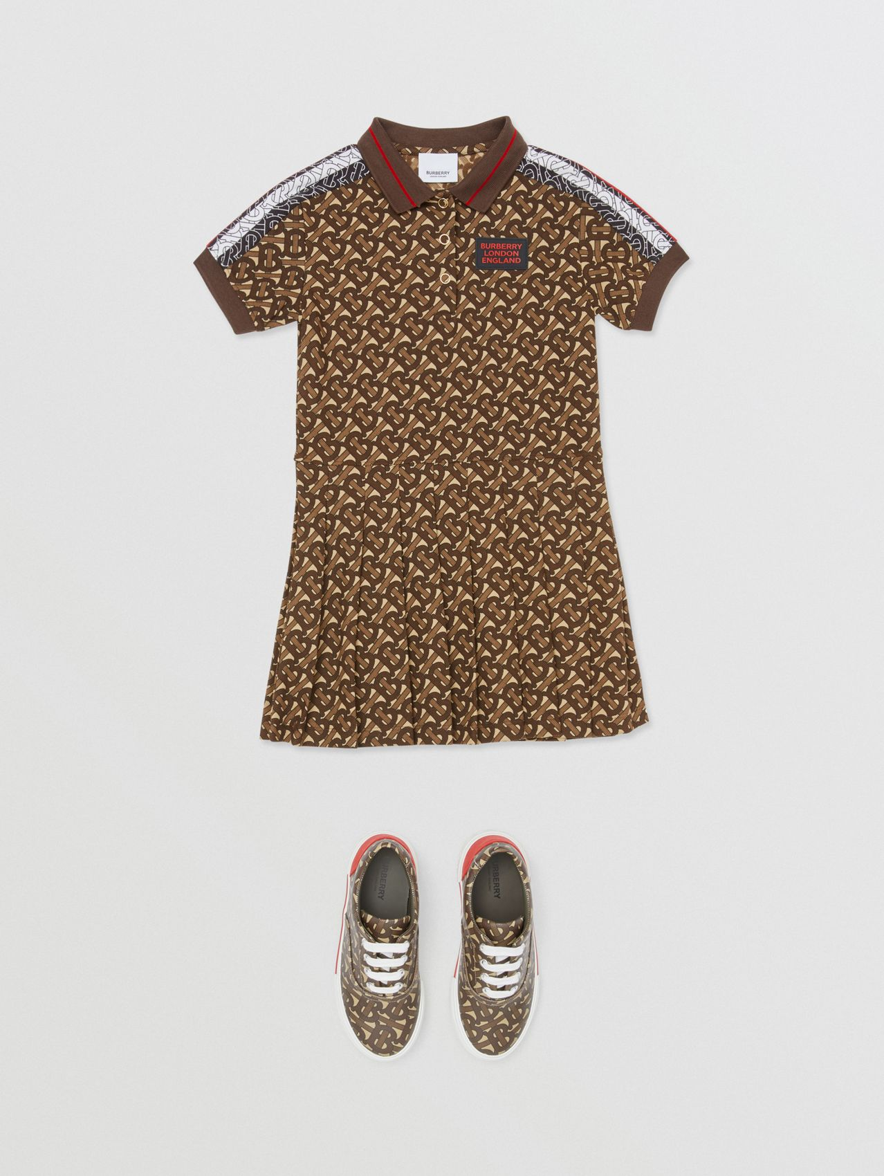 Monogram Stripe Print Cotton Polo Shirt Dress (Bridle Brown)