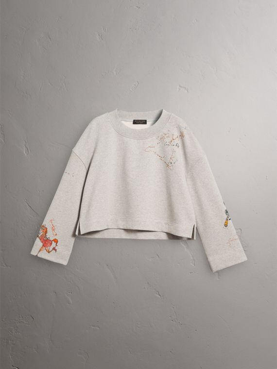 Sketch Print Loopback Cotton Sweatshirt in Light Grey Melange