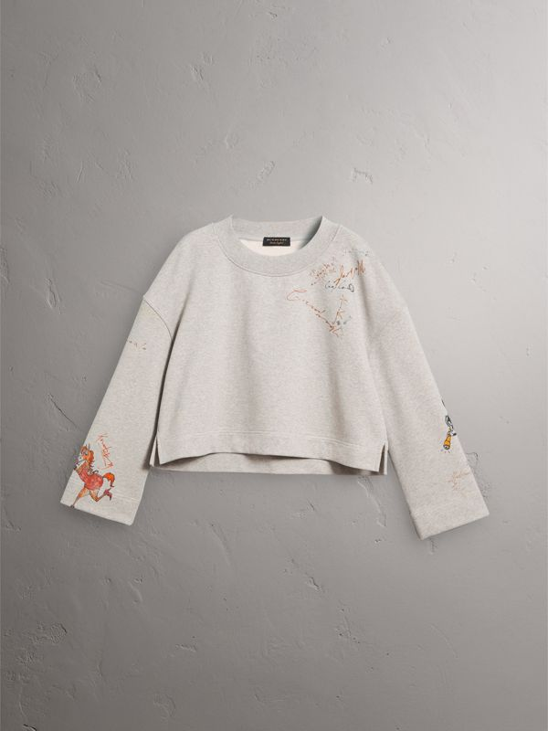 Sketch Print Loopback Cotton Sweatshirt in Light Grey Melange - Women | Burberry - cell image 3