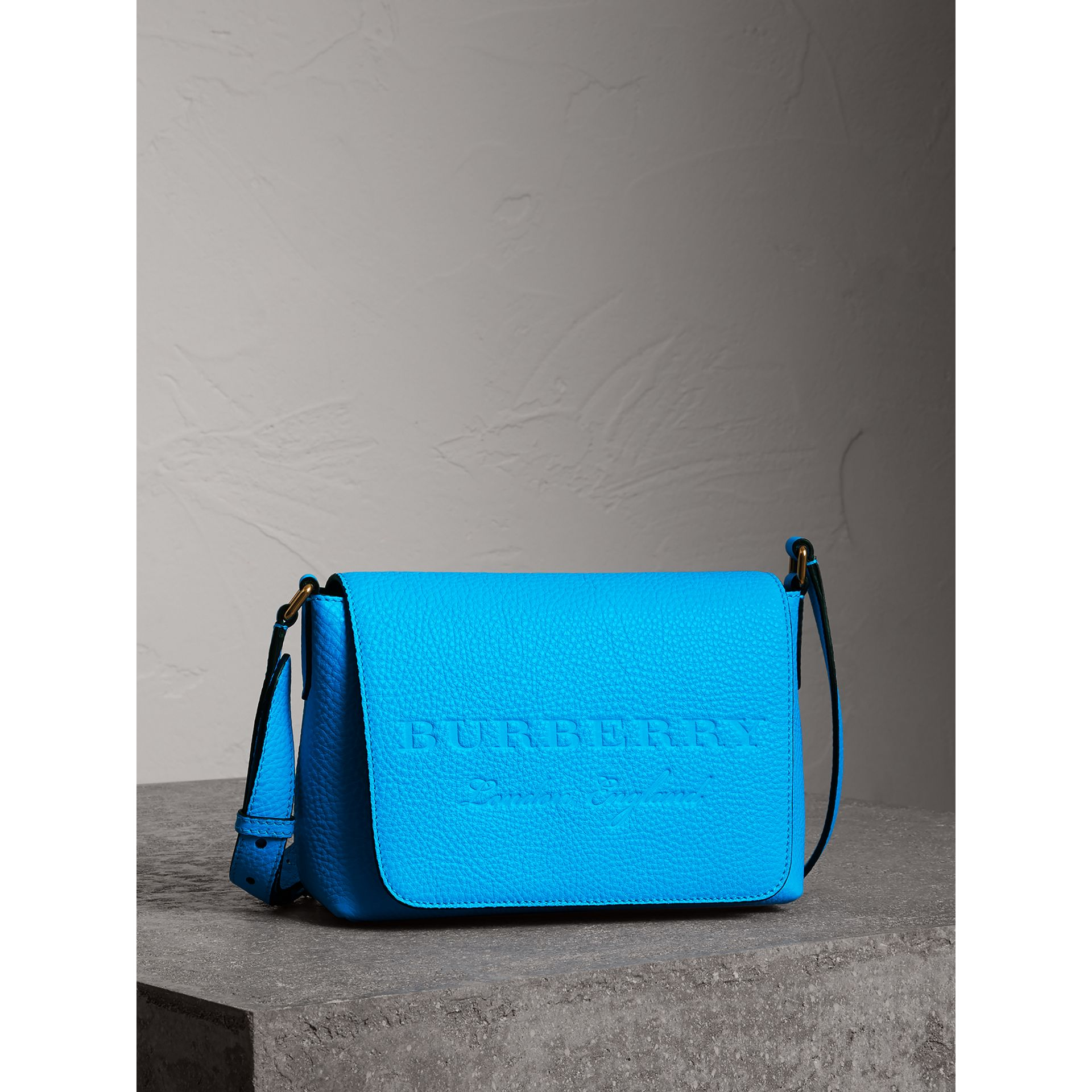 Small Embossed Neon Leather Messenger Bag in Blue | Burberry - gallery image 6
