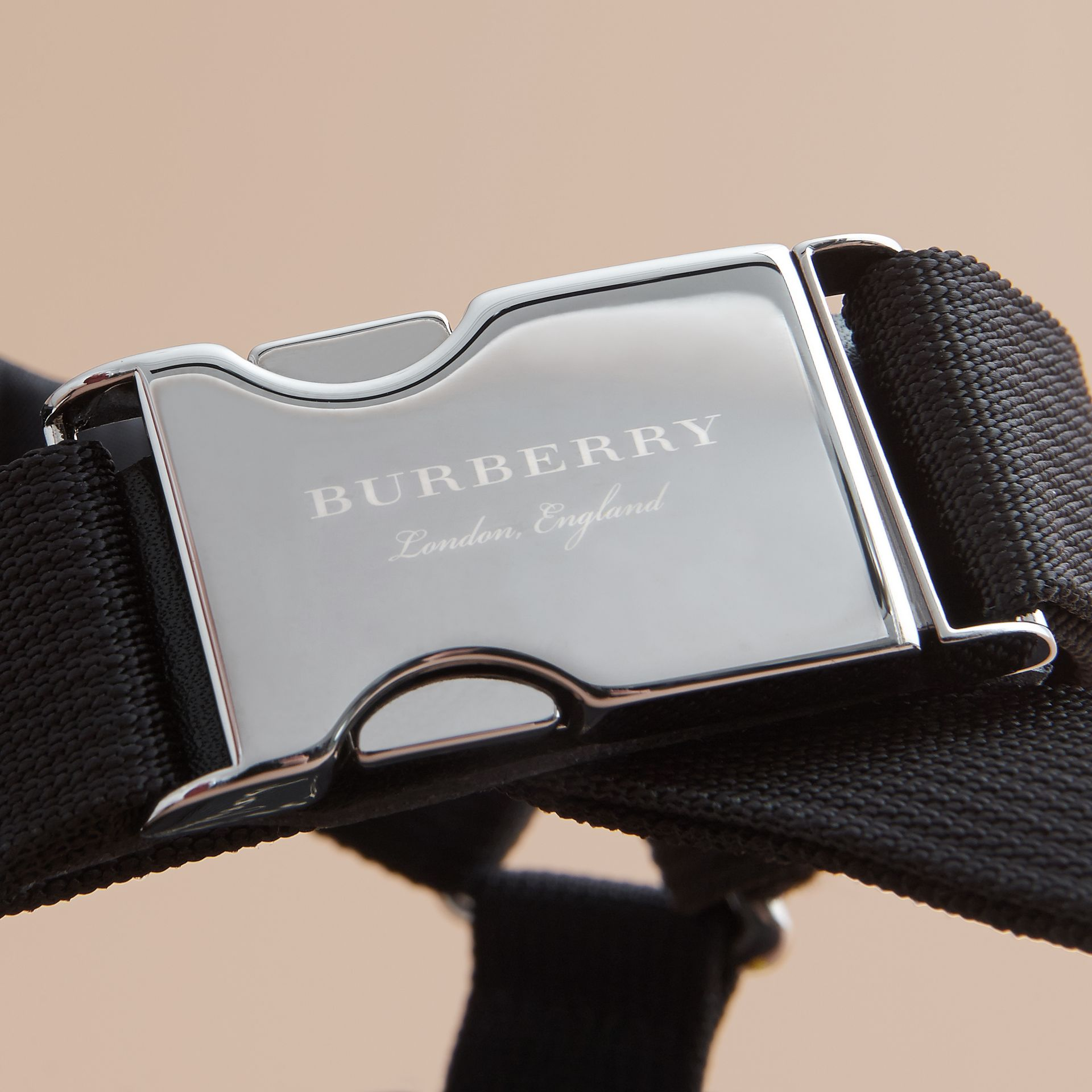 Three-point Strap Ripstop Sandals in Black - Men | Burberry - gallery image 2