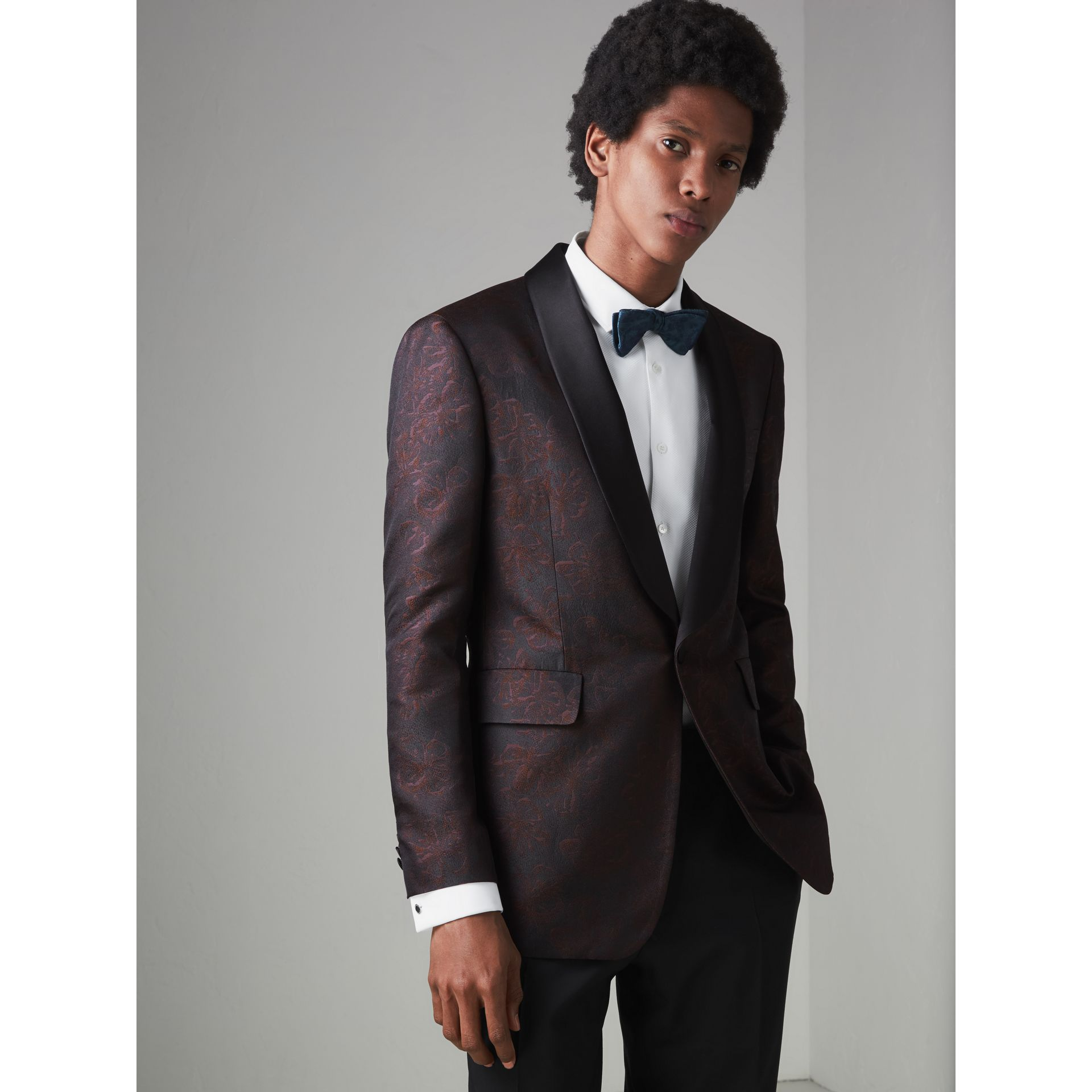 Slim Fit Floral Silk Jacquard Evening Jacket in Deep Claret - Men | Burberry Singapore - gallery image 4