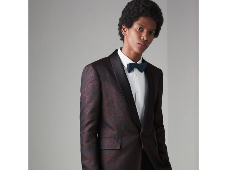 Slim Fit Floral Silk Jacquard Evening Jacket in Deep Claret - Men | Burberry Australia - cell image 4
