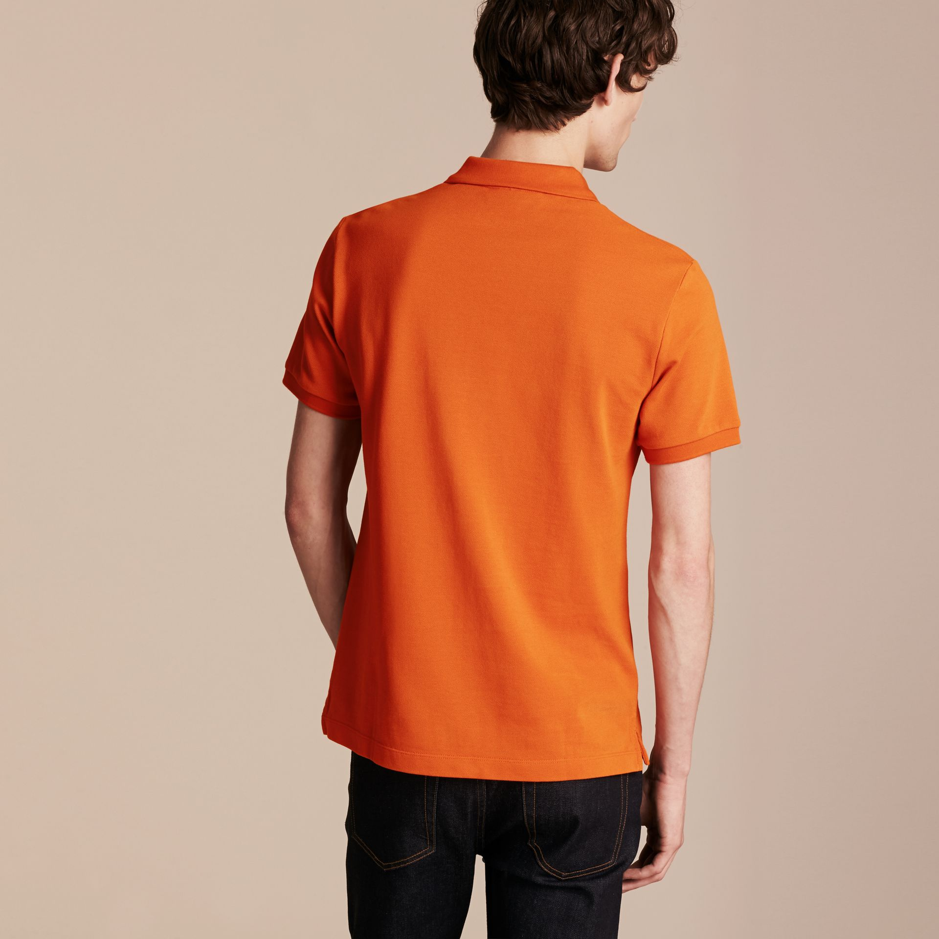 Check Placket Cotton Piqué Polo Shirt Clementine - gallery image 3