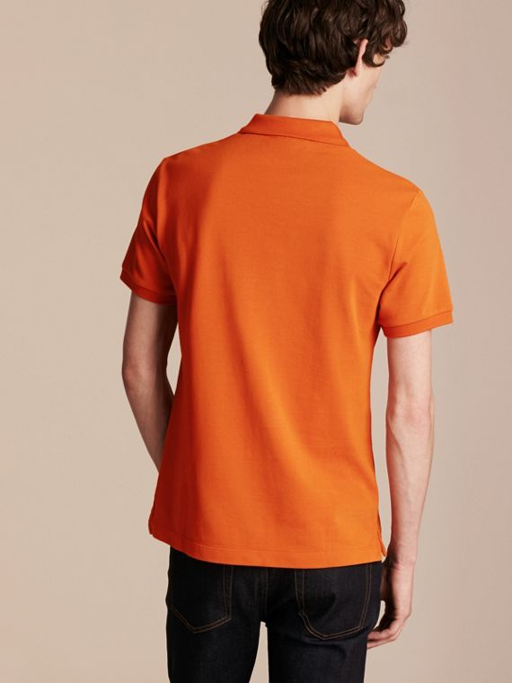 Check Placket Cotton Piqué Polo Shirt Clementine - cell image 2