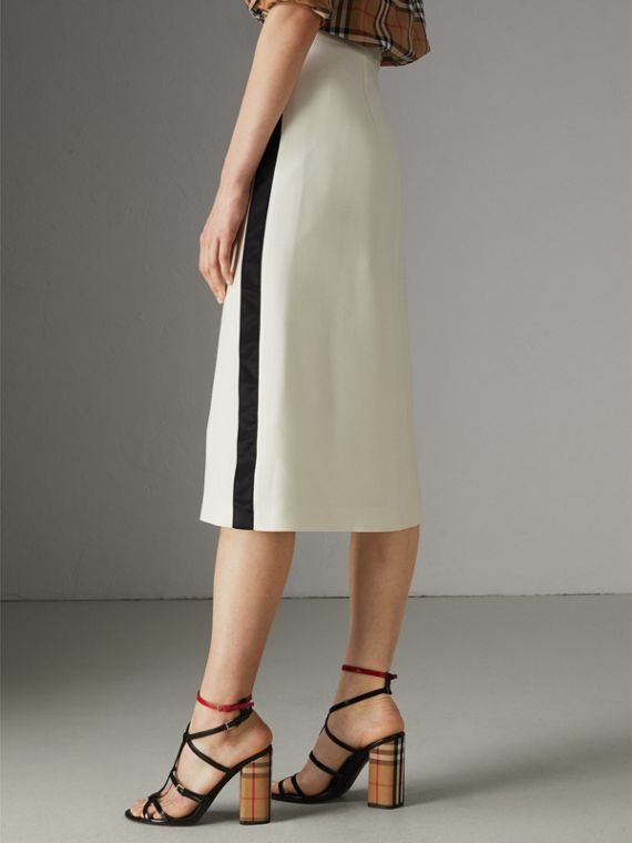Sport Stripe Wool Silk A-line Skirt in Off White - Women | Burberry Hong Kong - cell image 2