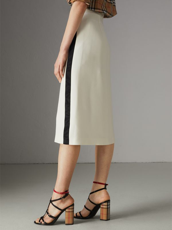 Sport Stripe Wool Silk A-line Skirt in Off White - Women | Burberry - cell image 2