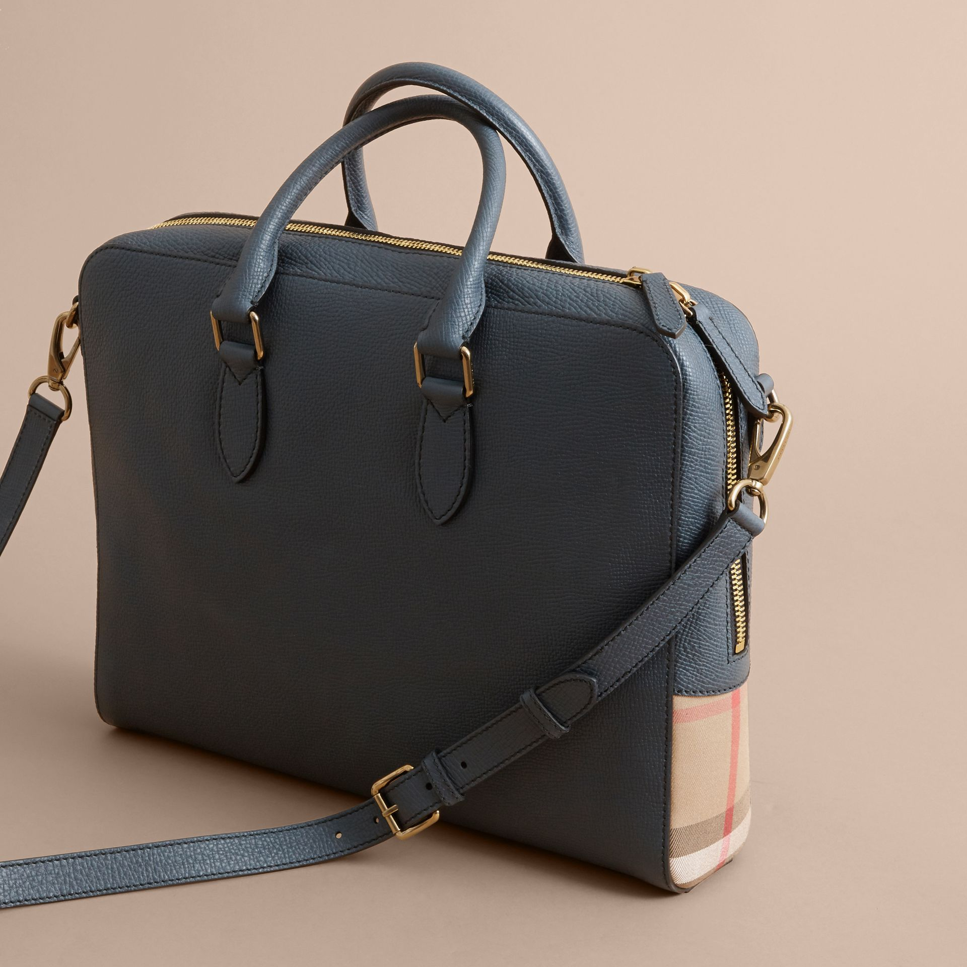 Leather and House Check Briefcase in Storm Blue - Men | Burberry - gallery image 5